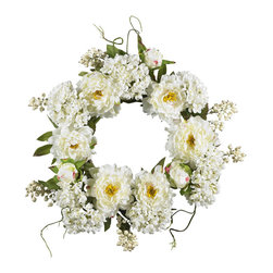 Nearly Natural - 20in. Peony Hydrangea Wreath - Surprise that special someone (or just treat yourself) with this sunny wreath of springtime beauty. A full 20' in diameter, this gorgeous wreath is a delicate mix of soft blooms both large and small, with a backdrop of twisty green vines and leaves that provide a wonderful contrast. This is a beautiful array of colors and textures that will instantly brighten any wall (or, use it as a centerpiece on a springtime table!)