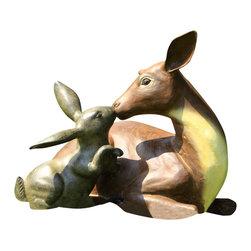 """SPI - Garden Best Friends Deer and Rabbit Statue - -Size: 13.5"""" H x 14.5"""" W x 12.5"""" D"""