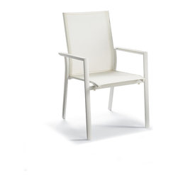 Frontgate - Set of Two Palm Outdoor Dining Chairs, Patio Furniture - The matte white finish and streamlined design work well with a variety of outdoor décor. Dining table features an integrated, frosted-glass lazy Susan tray. Stackable dining chairs have aluminum frame and quick-drying mesh backs and seats. Sit back and enjoy a cool drink and relaxed dinner with our sophisticated yet casual Palm Collection. This all-weather dining collection is crafted of powdercoated aluminum perfect for poolside or lakeside use. The matte white finish and streamlined design work well with a variety of outdoor decor .  .  .