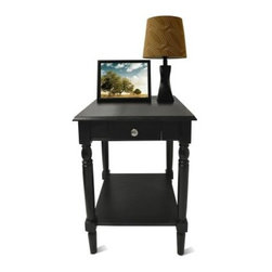 Convenience Concepts French Country Square Black Wood End Table with Drawer and - Run your fingers along the classic lines of the Convenience Concepts French Country Square Black Wood End Table with Drawer and Shelf. This solid wood end table will be the perfect companion in your living or bedroom. It comes in an alluring black and offers plenty of storage with its shelf and drawer.About Convenience ConceptsIf you're looking for forward-thinking designs at affordable prices, you can count on Convenience Concepts. Sensible contemporary furniture that's easy and ready to assemble, all of the products created by Convenience Concepts are quality-driven and will add flair to your living spaces.