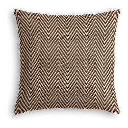 Brown Knit Chevron Custom Throw Pillow - The every-style accent pillow: this Simple Throw Pillow works in any space.  Perfectly cut to be extra fluffy, you'll not only love admiring it from afar but snuggling up to it too!  We love it in this brown & ivory chunky handwoven chevron cotton knit. perfect for adding luxurious texture & modern flare to any room.