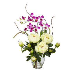 TwentyOne7 - Peony and Orchid Silk Flower Arrangement, White - This exquisite Peony and Dendrobium arrangement projects a perfect harmony of color and design. The bright, tasteful, and colorful weaving of different textures and flower types creates a splendor that's simply not found in a single species. Standing at over 21 inches high and set in a glass vase with liquid illusion faux water, this makes the perfect addition to any home or office, and also makes a great gift.