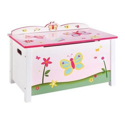 Guidecraft Butterfly Buddies Toy Box - Brighten up your child's room and give them a special place to store their toys with the Guidecraft Butterfly Buddies Toy Box. Featuring a whimsical hand-painted flower and butterfly motif, the toy box also features safety-lid supports and cut-outs to prevent pinching.About GuidecraftGuidecraft was founded in 1964 in a small woodshop, producing 10 items. Today, Guidecraft's line includes over 160 educational toys and furnishings. The company's size has changed, but their mission remains the same; stay true to the tradition of smart, beautifully crafted wood products, which allow children's minds and imaginations room to truly wonder and grow.Guidecraft plans to continue far into the future with what they do best, while always giving their loyal customers what they have come to expect: expert quality, excellent service, and an ever-growing collection of creativity-inspiring products for children.