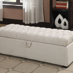 "Coaster - Storage Ottoman, Oatmeal - Perfect for your bedroom or living room, this storage ottoman provides plenty of storage space, button tufted seating and wood feet - wrapped in a oatmeal linen-like fabric.; Finish/Color: Oatmeal; Upholstery: Leather-like vinyl; Dimensions: 48""L x 19""W x 16.25""H"
