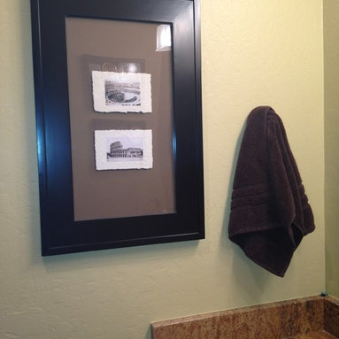 Recessed Picture Frame Medicine Cabinets with No Mirrors - Extra Large Black Concealed Cabinet with white interior from ConcealedCabinet.com.  You insert your own artwork and change it as often as you like!