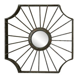 """Uttermost - Industrial Uttermost Enza 33"""" x 33"""" Dark Bronze Wall Mirror - A hammered metal openwork frame in dark bronze finish gives this inviting wall mirror a distinctive look. The cut-corner square design features sunburst style """"rays"""" emanating from the round convex mirror in the center. This transitional style Uttermost mirror will make a beautiful addition to your home. Decorative openwork wall mirror. Hammered metal frame. Dark bronze finish with rust sage glaze finish accent. Round convex mirror. Hang weight is 14 lbs. 33"""" wide. 33"""" wide. 4"""" deep.  Decorative openwork wall mirror.  Hammered metal frame.  Dark bronze finish with rust sage glaze finish accent.  Round convex mirror.  Hang weight is 14 lbs.  33"""" wide.  33"""" wide.  4"""" deep.  Mirror glass only is 9 1/2"""" wide."""