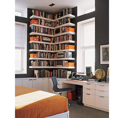 eclectic home office Orange ,White &amp; Grey Home Office
