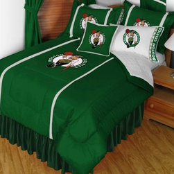 Sports Coverage - NBA Boston Celtics Sidelines Bedding - Complete Set - Twin w/ 1 Sham - Save big and show your NBA team spirit with Sidelines Boston Celtics Bedding Set, including the Comforter, Sheet set, Pillow sham and Bed skirt! This Comforter is made from 100% Polyester Jersey Mesh - just like what the players wear. The fill is 100% Polyester batting for warmth and comfort. Authentic team colors and logo screen printed in the center.   Microfiber Sheet Hem sheet sets have an ultrafine peach weave that is softer and more comfortable than cotton.  Its brushed silk-like embrace provides good insulation and warmth, yet is breathable.  The 100% polyester microfiber is wrinkle-resistant, washes beautifully, and dries quickly with never any shrinkage. The pillowcase has a white on white print beneath the officially licensed team name and logo printed in vibrant team colors, complimenting the NEW printed hems. The Teams are scoring high points with team-color logos printed on both sides of the entire width of the extra deep 4 1/2 hem of the flat sheet.    2 flanged edge that decorates all four sides of each Pillow sham. Made of 100% polyester jersey mesh, just like the players wear.  Bedskirt available in team color with no team logo printed on them.  Includes:  -  Comforter - Twin 66 x 86, Full/Queen 86 x 86,    -  Flat Sheet - Twin 66 x 96, Full 81 x 96, Queen 90 x 102.,    - Fitted Sheet - Twin 39 x 75, Full 54 x 75, Queen 60 X 80,    -  Pillow case Standard - 21 x 30,    - Pillow Sham - 25 x 31,    -  Bedskirt - Twin 76 x 39, Full 76 x 54, Queen 80 x 60 ,