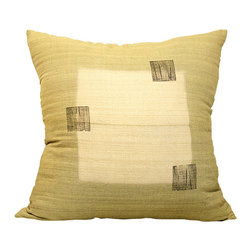 BZDesign - Light Green Hand Block Printed Pillow - This simply elegant silk pillow will easily fit into any contemporary setting!