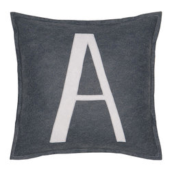 "Eastern Accents - Spell It Out A Pillow - Featuring a white ""A"" on a grey background, the Spell It Out felt pillow brings a typographic touch to a sofa, chair or bed. This on-trend accent creates a personalized look when displayed individually or with other letters and symbols (available separately). Handcrafted for the modern home, this decorative pillow charms with its unique fabrication, simple design and neutral color palette. 16"" Square; Hand-cut felt piecing; High quality polyester fiber pillow insert included; Zipper closure"