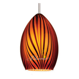 Tigra Quick Connect Pendant Light - Eye-catching glass pendant. The black stripes on the amber glass are reminiscent of the wild Bengal tiger.