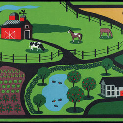 "None - Farm Design Kid's Mat (27"" x 48"") - This Farm Design mat will add a burst of color to any room or play area. The generously sized mat is not only decorative but can be used as an inviting activity play mat."