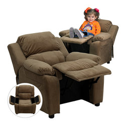 Flash Furniture - Deluxe Heavily Padded Contemporary Brown Microfiber Kids Recliner - Kids will now be able to enjoy the comfort that adults experience with a comfortable recliner that was made just for them! This chair features a strong wood frame with soft foam and then enveloped in durable microfiber upholstery for your active child. Choose from an array of colors that will best suit your child's personality or bedroom. This petite sized recliner features storage arms so kids can store items away and retrieve at their convenience.
