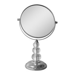 None - Free Standing Bead Design 5X Magnifying Makeup Mirror - The free standing mirror is perfect to use during makeup application and while plucking out eyebrows. It features a metal construction in a chrome finish,stacked acrylic ball detail,and 5X magnification to help you see more detail.