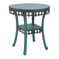 IMAX - Ella Elaine Accent Table - Blue - An accent piece that gives new meaning to the term dressing table: A feminine table in blue painted birch with a lacy metal skirt.