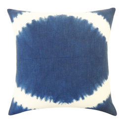 JITI - Panjin Navy Pillow - Rejuvenate your living room or bedroom with a retro flair. This '60s-inspired square throw pillow adds that small blast from the past you've been seeking. The navy blue cotton encases a feather and down-filled insert, so you can be confident it will feel as it good as it looks.