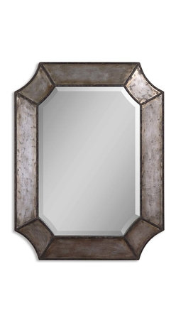 """Uttermost - Elliot Distressed Aluminum Mirror - There is distressed and there is """"distressed."""" This mirror does not show any signs of wrinkles, lines or fading. It just shows that aging is a good thing — a beautiful thing. And we all want that."""