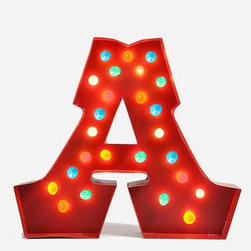 Marquee Alphabet Light, Multi - These are the perfect initials for a carnival- or circus-themed nursery. If you just buy one letter, it won't be too expensive. It doubles as a night light too.