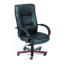 BOSS Chair - High Back Black Leather Chair w Knee Tile in - Beautifully upholstered in genuine Black Italian Leather. Passive ergonomic seating with built-in lumbar support. Matching hardwood arms with tailored leather padding. Mahogany wood finish on 27 in. base. Hooded double wheel casters. Upright locking position. Pneumatic gas lift seat height adjustment. Adjustable tilt tension control. Elegant finish on hardwood arms and leg caps. Matching guest chair with sled base. Arm Height: 27 - 30.5 in. H. Seat Size: 21 in. W x 20.5 in. D. Seat Height: 19 - 22.5 in. H. Overall Size: 27 in. W x 28 in. D x 45 - 48 in. H. Weight Capacity: 250 lbs.