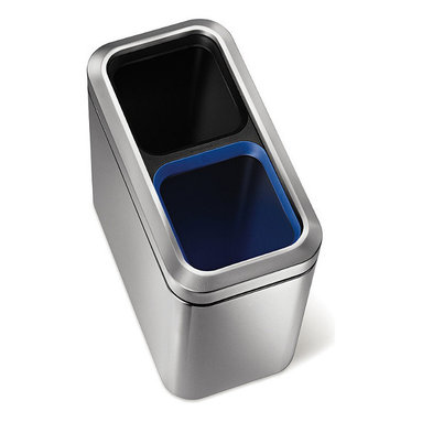 Frontgate - simplehuman Slim Open Recycler Can - Durable, removable plastic buckets for trash and recycling. Blue rim for easily identifying recycling bin. Use Code C recycler liners for a perfect fit. Five-year warranty. Enhance the environment in your personal office space with the simplehuman 20-Liter Open Recycler Can. The stainless-steel exterior and space-efficient design provides a sleek method for recycling, with separate buckets for trash and recyclables.  .  .  .  . Made in USA.