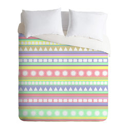 DENY Designs - Romi Vega Pastel Pattern Duvet Cover - Turn your basic, boring down comforter into the super stylish focal point of your bedroom. Our Luxe Duvet is made from a heavy-weight luxurious woven polyester with a 50% cotton/50% polyester cream bottom. It also includes a hidden zipper with interior corner ties to secure your comforter. It's comfy, fade-resistant, and custom printed for each and every customer.
