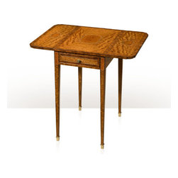 Theodore Alexander - Wilton Pembroke Drop Leaf End Table - A figured Amarello veneer and rosewood crossbanded Pembroke table, the rectangular drop leaf top with Amboyna burl cartouche inlay and fine stringing, above a frieze drawer on square tapering legs with Amboyna burl panel capitals, on brass spade feet. Inspired by a George III original.