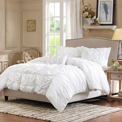Madison Park - Madison Park Harlow 4 Piece Duvet Cover Set - Harlow is a fun and flirty white duvet cover set pieced together with ruching and embroidered details. The center of the duvet cover features a pieced look and the sides are ruched to create a variety of texture and dimension. The duvet cover set includes two standard shams and three embroidered decorative pillows in purple and white that adds color and detail to this collection. Duvet Cover/Sham: 100% cotton percale, 180TC with cotton reverse, microfiber reverse on sham Pillow: 100% polyester shell, polyester filling