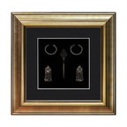 China Furniture and Arts - Miao Jewelry Shadowbox - Exquisitely hand-forged, this set of antique jewelry is a reproduction of those found from the Miao, a minority tribe in the mountains of southwest China. Framed in a custom-made museum quality hardwood shadowbox for viewers to admire.
