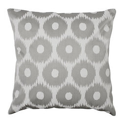 "Circle Ikat Pillow, Gray - Z Gallerie's exclusive Circle Ikat pillow creates a stunning sophisticated look in subtle neutral Grey. The pillow is made of pure cotton with an elegant sheen for a dressier appearance, and the circle pattern is embroidered on the front in Grey on White to mimic a tribal Ikat textile technique. Filled with a feather and polyester insert. Dry clean only. Dimensions: 24""W x 24""H"