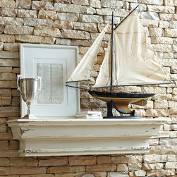 """Ballard Designs - Rouen Mantle Shelf - Hang a piece of art above to enhance the mantel effect. Great in the kitchen for oils & wine bottles. Create the architectural warmth of a mantel with our Rouen Shelf. Deep stepped molding is hand crafted of mango wood and hand finished in distressed white for an antique look. The 8 1/4"""" depth creates display space for art, books and collectibles.Rouen Mantle Shelf features:. ."""