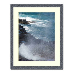 "Frames By Mail - Wall Picture Frame Hammered Black pearlized finish with a white acid-free matte, - This 8X10 hammered black pearlized finish picture frame is 1"" wide and has a white matte that can be removed to accommodate a larger picture.  The frame includes regular plexi-glass (.098 thickness) foam core backing and can hang either horizontal or vertical."