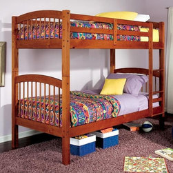 Coaster - 69 in. Twin Over Twin Bunk Bed - Mattresses not included. Twin over twin bunk bed. Made from durable solid wood. Warm oak finish. Built-in ladder. Requires two 9 in. thick twin mattresses. Casual style. Full length guard rails. 80 in. L x 42.5 in. W x 69 in. H. Warranty. Bunk Bed Warning. Please read before purchase.. NOTE: ivgStores DOES NOT offer assembly on loft beds or bunk bedsThe clean casual designs of this twin bunk bed will create a fun and inviting focal point in your child's bedroom. This space saving design will make a wonderful addition to your child's space.