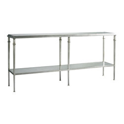 Lillian August - Lillian August Tria Console LA93331-01 - The tria console is the newest addition to the best selling series of aged silver occasional tables with eglomise mirrored tops.