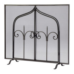 """Cyan Design - Gate of Thrones Screen by Cyan Designs - Open the gates and let it burn! The Gate of Thrones Fire Screen is a fire starter with its black bronze finish and pivoting arch doors. (CY) 40.6"""" wide x 32.25"""" high"""