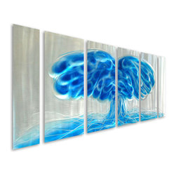Pure Art - Blue Awakening Abstract Metal Wall Sculpture Set of 6 - Never underestimate the power of blue to create a tranquil, calm, and peaceful space! The Blue Awakening Abstract Metal Wall Sculpture set of six panels brings the calming power of blue to your home decor with an abstract blue mushroom design on a shimmering background of silver.  Ideal metal wall art hanging is perfectly sized to hang above your sofa or couch in the den or living room, above the master headboard in the bedroom, atop the buffet in the dining room, or atop some other large furniture item in another spaceMade with top grade aluminum material and handcrafted with the use of special colors, it is a very appealing piece that sticks out with its genuine glow. Easy to hang and clean.