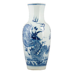 Oriental Danny - Blue and white porcelain vase - Blue and white porcelain vase with dragon design. All hand made. Great for display on mantel or shelves.