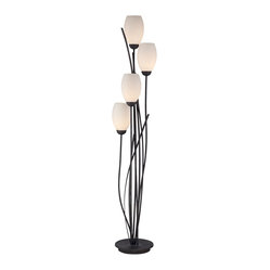 Contemporary Black Metal and White Glass Tulip 4 Light Floor Lamp