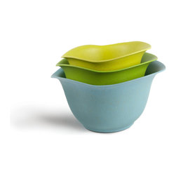 Architec™ Housewares - EcoSmart™ by Architec™ Purelast™ Mixing Bowl, Blue to Green - EcoSmart™ by Architec™ Purelast™ Mixing Bowl. The most natural and durable advance in plastic alternatives. Made from 98% natural and recycled materials. Bowl set 2, 3, 4 QT. Set with non-slip base. Dishwasher Safe.