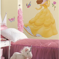 Roommates Decor - Disney Princess Belle Giant Peel & Stick Wall Decals - Bring all the warmth of Belle home and into a little girl's room with this giant wall decal. Belle is perfect for little girls who see the best in people, while parents will appreciate how easily apply and remove without ever leaving behind any sticky residue or damaging the surface. Comes with 21 beautiful peel & stick gems perfect for adding to Belle's crown, jewelry, dress, and more. Pairs perfectly with our other giant Disney Princess wall decals or wall stickers (all sold separately).