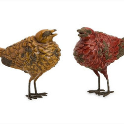 """Imax Worldwide Home - Tuscan Birds - Set of 2 - With Italian influence and rustic charm, the set of two Tuscan birds feature warm red and butternut glazes on uniquely shaped bird sculptures. Great for kitchen decor!; Country of Origin: China; Weight: 1.3 lbs; Dimensions: 4.75""""h x 2.5""""w x 5.75""""d"""