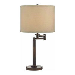 Design Classics Lighting - Modern Swing Arm Lamp with White Shade in Bronze Finish - 1902-1-604 SH9554 - Contemporary / modern remington bronze 1-light table lamp. Swing arm has a maximum 9-inch extension. Takes (1) 100-watt incandescent three-way bulb(s). Bulb(s) sold separately. UL listed. Dry location rated.