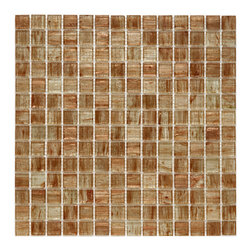 Somertile - SomerTile 12x12-in Cuivre 1-in Tan Gold Translucent Glass Mosaic Tile (Case of 1 - Showcasing translucent hues of amber,gold,and ivory,these SomerTile mosaic tile sheets are made with fused-glass mosaic tile. These impervious tiles resist water and are suitable for bathroom,kitchen,and outdoor use. Each case contains 13 tiles.