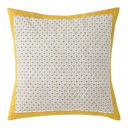 DwellStudio - Lucca Euro Sham Pair by DwellStudio - Modern shams made with traditional techniques. The DwellStudio Lucca Euro Sham Pair has foulard-inspired patterns of repeating diamonds made via blockprinting (stamping with intricately carved wooden blocks). Yellow Ochre borders complement the pattern and add an overall sense of vibrancy. Made of machine washable cotton percale. DwellStudio, founded in 1999 by Christiane Lemieux, specializes in home furnishings steeped in modern design. With a unique sense of color and a strong commitment to quality and innovation, DwellStudio continues to create its own distinctive interpretation of modern home furnishings. In the same creative spirit, the company encourages their customers to experiment with mixing various DwellStudio textile lines together.