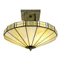 Chloe - Tiffany-style 2-light Antique Bronze Hanging Lamp - Hand-crafted using the same techniques that were developed by Louis Comfort Tiffany in the early 1900s, this beautiful Tiffany-style piece contains hand-cut pieces of glass. This 2-light fixture features an antique bronze finish.