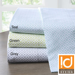 ID-Intelligent Designs - Intelligent Design Diamond Cotton 200 Thread Count Sheet Set - The Intelligent Design smaller scale diamond print motif creates a fun modern look. Made from 100-percent cotton,this 200TC printed sheet set adds comfort and style to your bedroom.