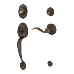 Schlage - Plymouth Handleset w Accent Interior Lever Le - Manufacturer SKU: F62 PLY 613 ACC LH. Handle Type: Handleset. Handleset features a high security deadbolt, keyed on both sides and a decorative lower grip to create a grand entrance for your home. Patented adjustable through-bolt allows easy installation retrofits existing doors. For left handed doors. Lifetime limited mechanical & finish warranty. Coordinate with other accent oil rubbed bronze products. Maximum security deadbolt offers superior protection against attacks by crowbar, hammer, wrench, saw, lock pick, and kick-in. Designed for standard door prep (fits existing pre-drilled holes). Universal latch adjusts to fit 2-3/8 In. or 2-3/4 In.. Fits 1-3/8 In. to 1-3/4 In. wood or metal doors. 2.3 in in. L x 3 in in. W x 12.4 in in. H (6.6 lb lbs)
