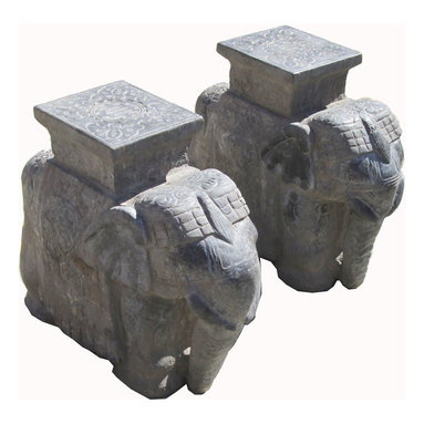 Golden Lotus - Elegant Pair Chinese Hand Carving Stone Elephant Statue - This is a pair of Chinese elephant statue which is made of solid stone.  It is perfect to put at your entrance of hallway or outside of house.  Especially, its back has Chinese longevity carving on it, and the flat design can be put small statue or flower plant pot.