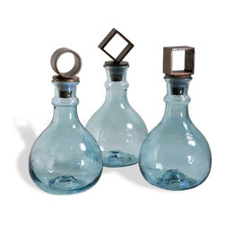 Interlude - Interlude Skyla Decanters - Set of 3 - These three aqua glass decanters have a gorgeous, hand blown feel and each one is topped with a playful geometric stopper in a copper bronze finish.