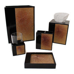 Sherry Kline - Sherry Kline Quincy Bath Accessory 5-piece Set - Add elegance to your bathroom with the Sherry Kline Quincy 5-piece bath accessory collection. Made of resin and glass,the Quincy is a highly polished,chocolate lacquered set with a brilliant gold shooting star motif in the center.