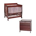 Da Vinci - DaVinci Kalani Convertible Mini Wood Crib Set With Changing Table in Cherry - Da Vinci - Baby Crib Sets - M5598CM5555Cpkg - DaVinci Kalani Convertible Mini Wood Crib Set With Changing Table in Cherry